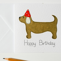Handmade greeting card sausage dog birthday, Dachshund dog birthday card