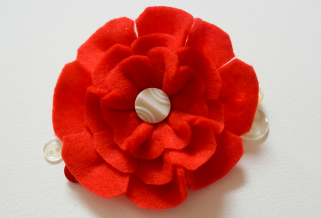 Felt Brooch, Handmade Red Flower felt brooch, Gift for her