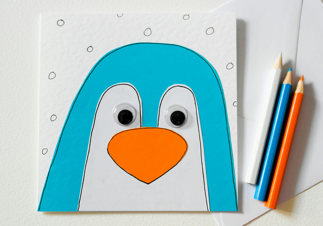 Handmade Penguin Greeting Card - Cute Penguin Card - Blank Christmas Card