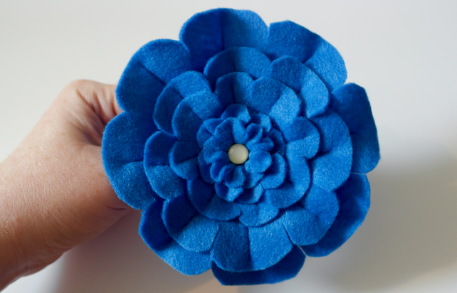 Felt Brooch - Handmade Blue Flower Brooch - Hand Sewn - Flower Brooch