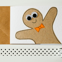 Greeting Cards - Gingerbread men with bow ties Christmas Greeting Card 6 Pack