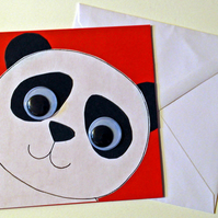Cute Panda Bear birthday handmade greeting card, Animal greeting card,