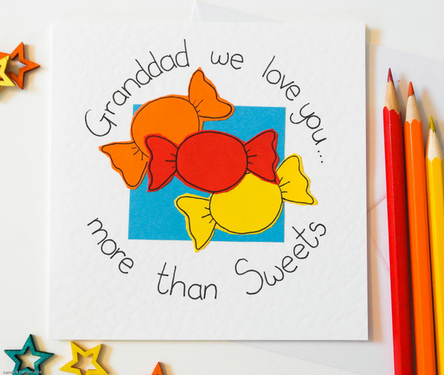Handmade greeting card for Granddad, Grandchidren to Grandpa birthday card