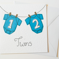 Boy twins greeting card, Handmade new born card, New baby twin birth