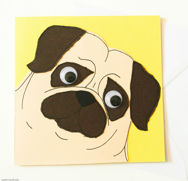 Pug Greeting card. Birthday Dog Card. Handmade animal card.