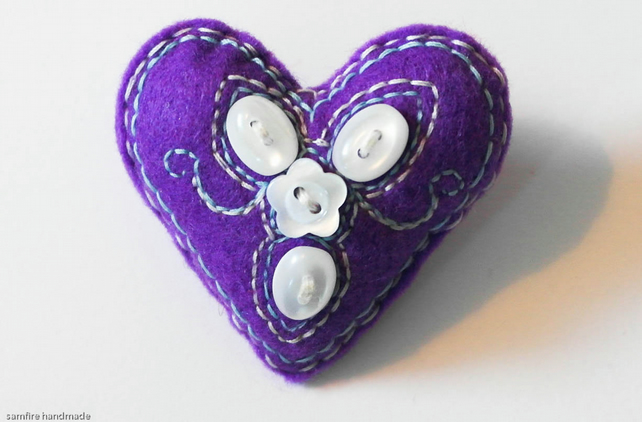 Hand Sewn Heart Brooch Pin. Birthday Gift. Purple with buttons Mother's Day gift