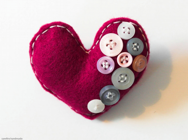 Hand Sewn Heart Brooch Pin. Birthday Gift. Marron with buttons Mother's Day gift
