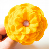 Flower brooch. Handmade yellow felt flower brooch. Gift for a friend. Flower pin