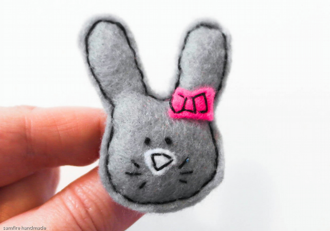 Cute grey rabbit with pink bow . Easter gift. Bunny brooch.