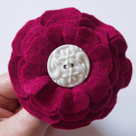 Felt Brooch, Handmade Maroon Flower Brooch. Hand Sewn Pin. Gift for a women.