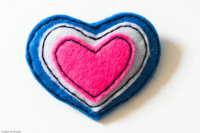 Felt Brooch - Blue white pink Heart Brooch - Hand Sewn Pin - love token