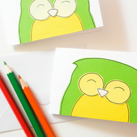 owl handmade birthday,owl card set, blank cards, greeting card , owl cards
