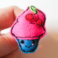 Kawaii Accessory, Cupcake brooch, Birthday Cake Pin, Felt cupcake brooch, Cute