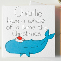 Funny pun personalised Christmas card, Handmade card, Quirky personalized card