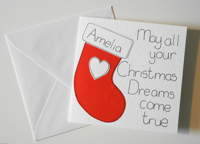 Christmas personalised stocking card, handmade greeting card