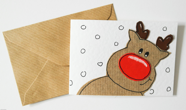 Christmas reindeer pack of 6 cards, Handmade cute Rudolph Xmas Christmas cards