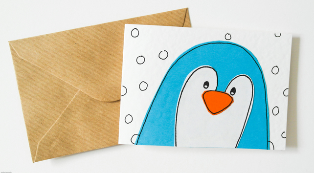 Handmade cute penguin Christmas card pack, Penguin thank you cards