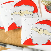 Handmade cute Father Christmas card pack,Santa Claus mutipack of Christmas cards