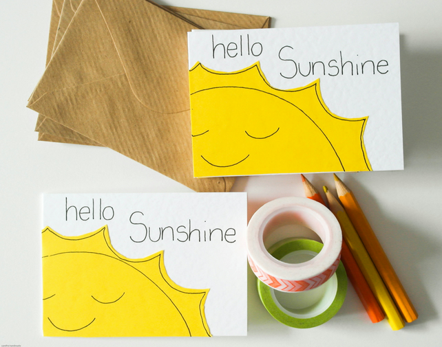 Hello Sunshine pack of 6 mini greeting cards, Cute thank you notes