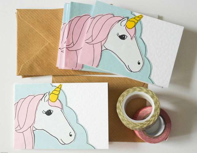 Unicorn mini greeting cards, Pink unicorn stationary pack, Stocking filler