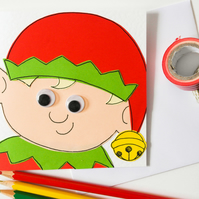 Elf handmade Christmas card, Whimsical Festive Elf Card,Christmas card for a kid
