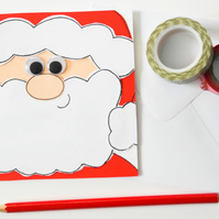 Handmade Father Christmas card, Fun Santa Claus Christams card for a child,