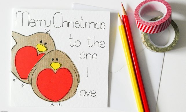 Merry Christmas to the one I love Xmas card,Cute robins Christmas partner card