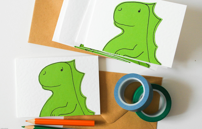 Dinosaur handmade notecards, Children's stationery set, Dino thank you cards