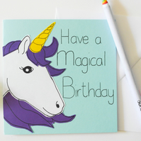 Unicorn birthday card, Handmade birthday card for a friend, Unicorn card