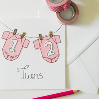 New baby twins handmade greeting card, Girl twin, Twins New Arrivals Card