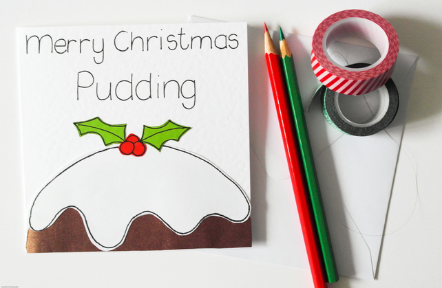 Christmas pudding handmade Xmas card, Merry Christmas Pudding pun Christmas card