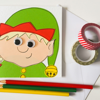 Girl Elf handmade Christmas card, Cute Xmas card, Festive girl elf card