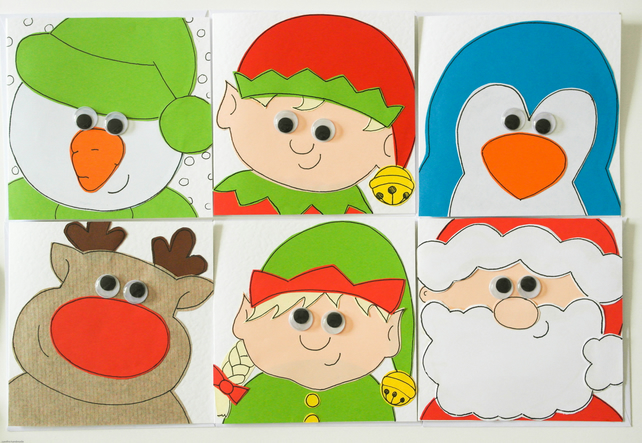 Pack of 6 handmade Christmas cards, Set of Xmas cards, Multi-pack Christmas card