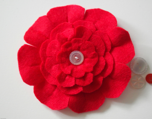 Red felt flower brooch, Secret Santa ideas, Gifts for Her