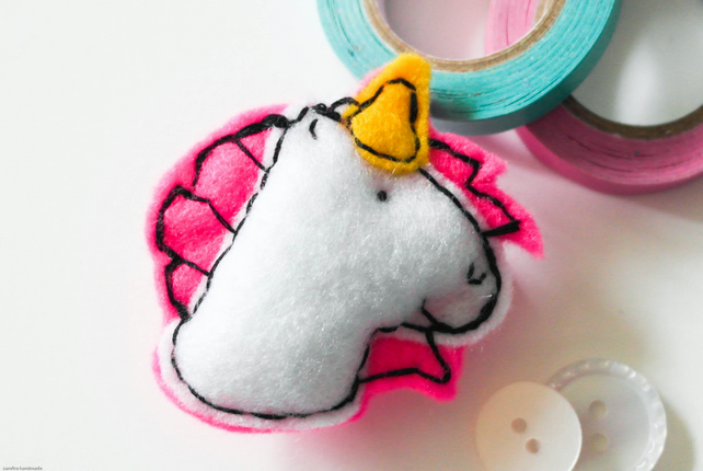 Unicorn brooch, Handmade felt pink and white unicorn brooch, Stocking filler