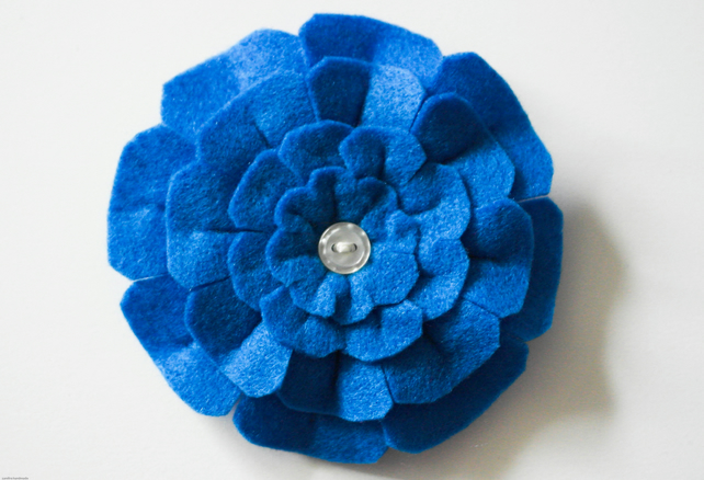 Blue felt flower brooch, Handmade blue flower pin, Christmas stocking filler
