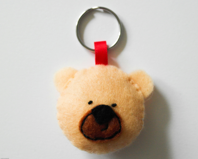 Bear felt keyring-Bear keyring-Kawaii bear gift-Teddy bear keyring-Cute gift