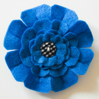 Blue flower brooch-Handmade felt flower brooch-Mother's day gift-Gift for her