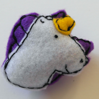Felt unicorn brooch-Unicorn gift-Purple unicorn handmade brooch-Gift for her