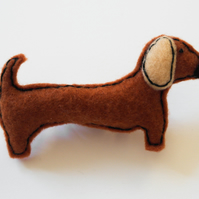 Felt sausage dog brooch-Gift for a dog lover-Felt dachshund pin-Handmade brooch