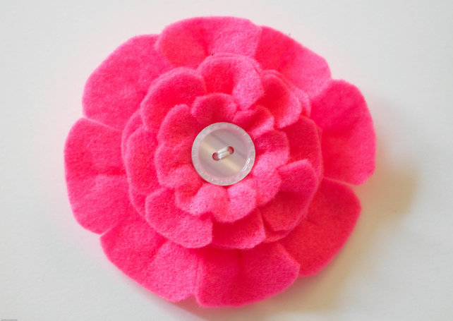 Mother's day gift-Pink felt flower brooch-Gift for her-Handmade flower brooch