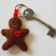 Felt gingerbread man keyring-Kawaii accessory-Stocking filler-Gingerbread men