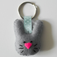 Grey felt rabbit keyring-Birthday gift for a rabbit lover-kawaii bunny keyring