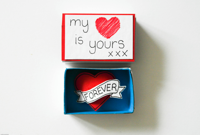 Valentine's day card-Matchbox Valentine's Day card-Love gift for him or her