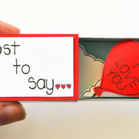Valentine Gift, Sweet love matchbox card, Romantic little keepsake, Love gift