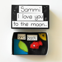 Love you to the moon and back pesonalised matchbook card,Valentines card