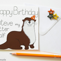 Funny Otter Birthday Card, Birthday card for a husband, wife