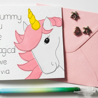 Pesonalised Mummy you are Magical unicorn Mother's day card, Birthday card