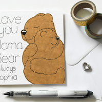 Personalised Mama bear and cub Mother's day card, Birthday card