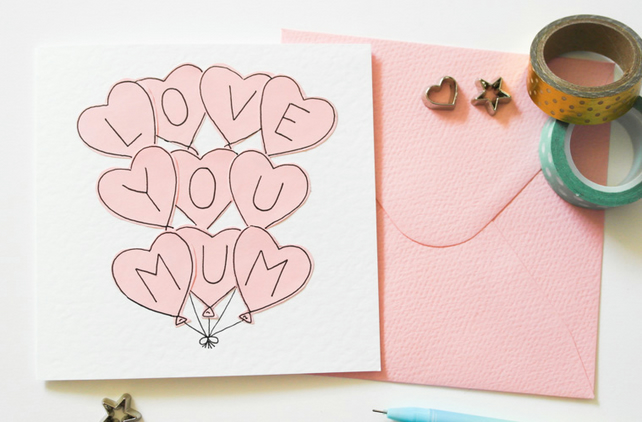 Mum birthday card, Mother's day card, Pink balloons Love you Mum card